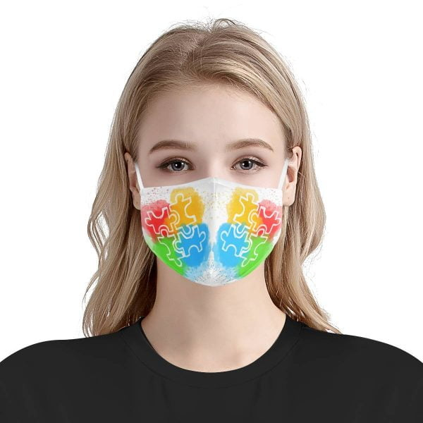 Autism Awareness Face Mask – Puzzle Face Mask + Filters PM2.5