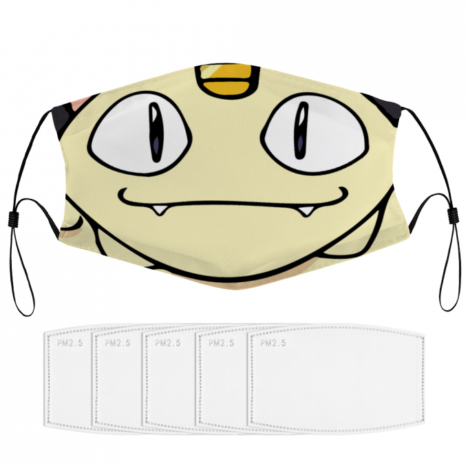 Meowth Pokemon Face Mask + Filters PM2.5