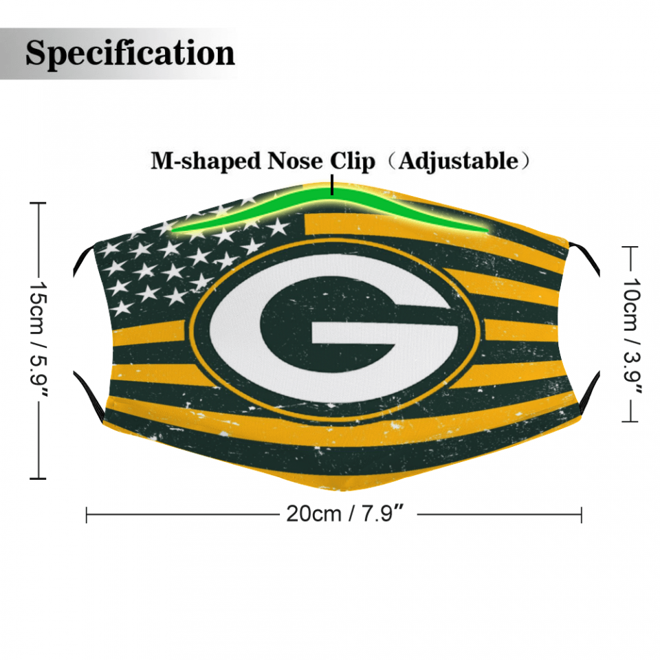 Green Bay Packers Face Mask + Filters PM2.5