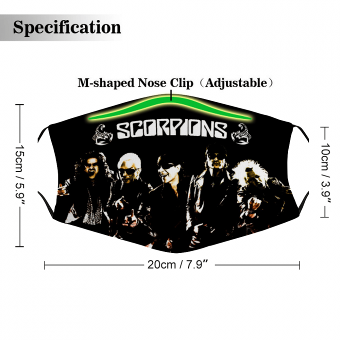 Scorpions Face Mask + Filters PM2.5
