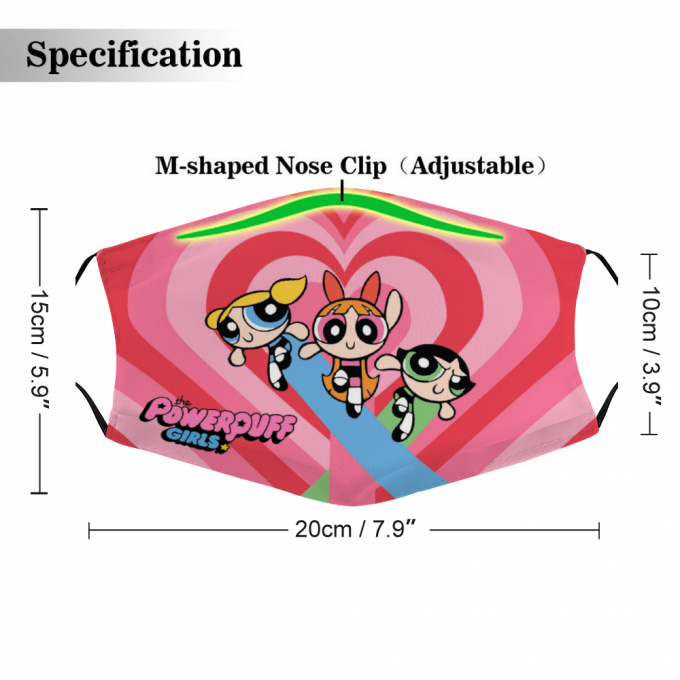 The Powerpuff Girls Face Mask + Filters PM2.5