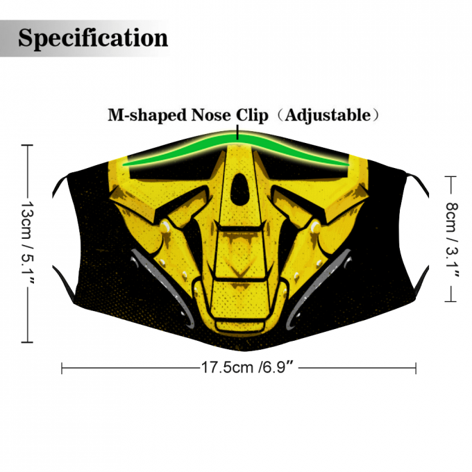 Cyrax Mortal Kombat Mask + Filters PM2.5