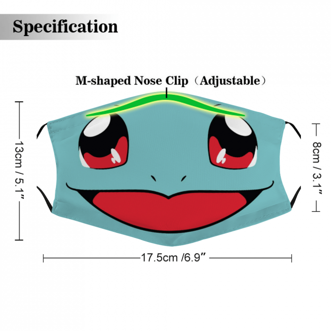 Squirtle Pokemon Face Mask + Filters PM2.5