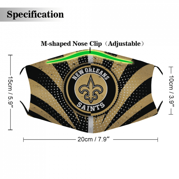 New Orleans Saints Face Mask + Filters PM2.5