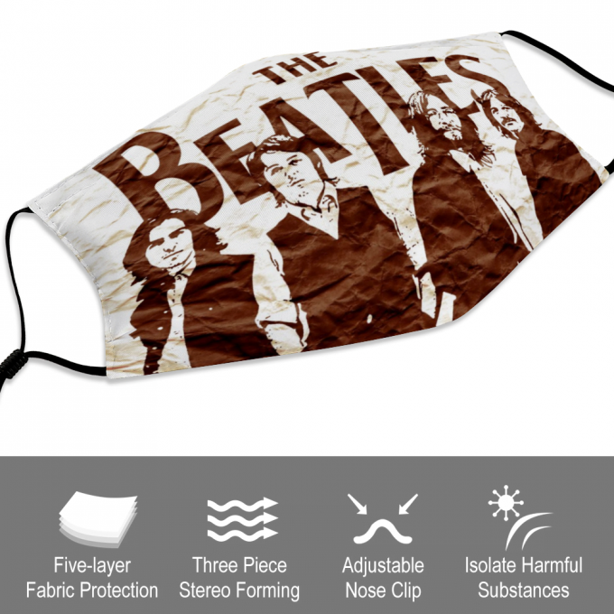 The Beatles Face Mask + Filters PM2.5