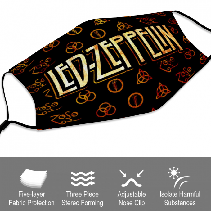 Led Zeppelin Face Mask + Filters PM2.5