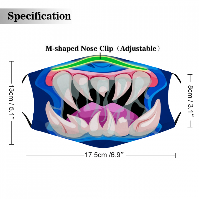 Monster Mouth Face Mask + Filters PM2.5