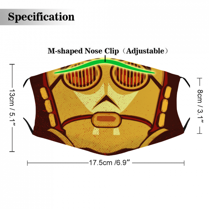 C-3PO Star Wars Face Mask + Filters PM2.5