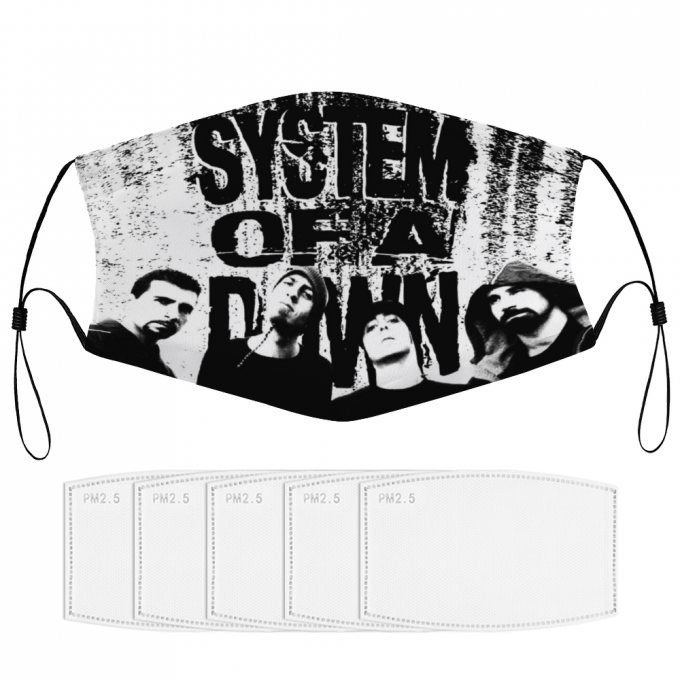 System of a Down Face Mask + Filters PM2.5