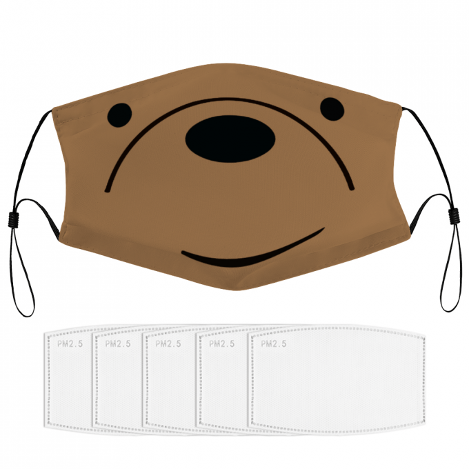 Grizzly We Bare Bear Face Mask + Filters PM2.5