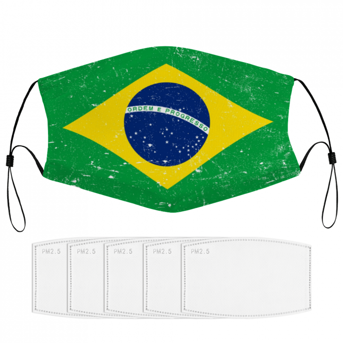 Brazil Flag Face Mask + Filters PM2.5