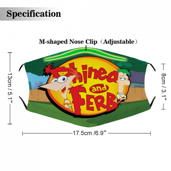 Phineas and Ferb Face Mask + Filters PM2.5