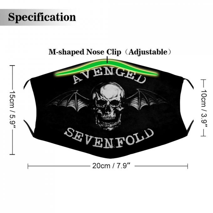Avenged Sevenfold Face Mask + Filters PM2.5