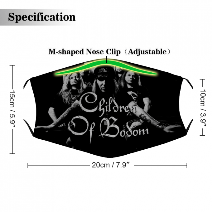 Children of Bodom Face Mask + Filters PM2.5