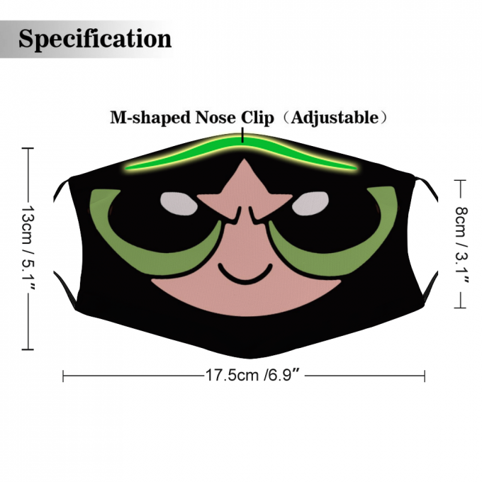Buttercup Powerpuff Face Mask + Filters PM2.5