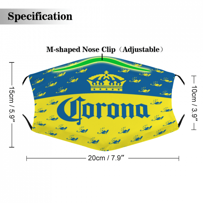 Corona Beer Face Mask + Filters PM2.5