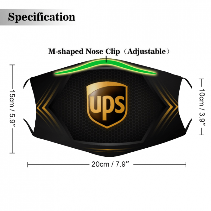 UPS Face Mask + Filters PM2.5