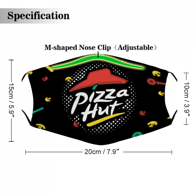 Pizza Hut Face Mask + Filters PM2.5