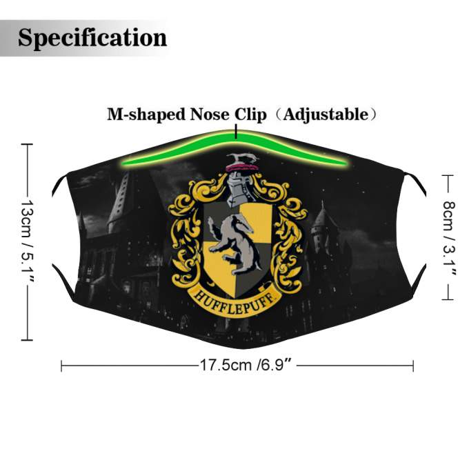 Hufflepuff Harry Potter Face Mask + Filters PM2.5