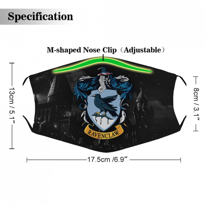 Ravenclaw Harry Potter Face Mask + Filters PM2.5