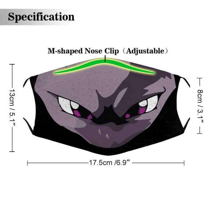 Mewtwo Pokemon Face Mask + Filters PM2.5