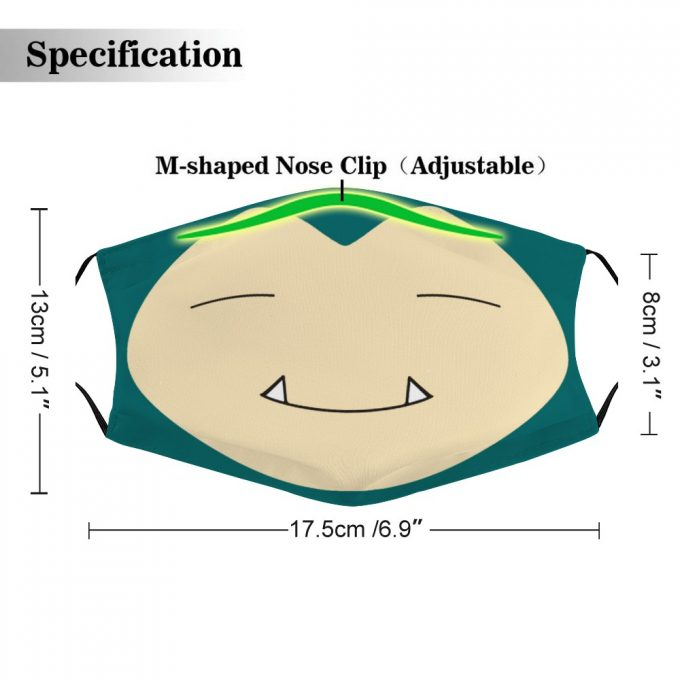 Snorlax Pokemon Face Mask + Filters PM2.5