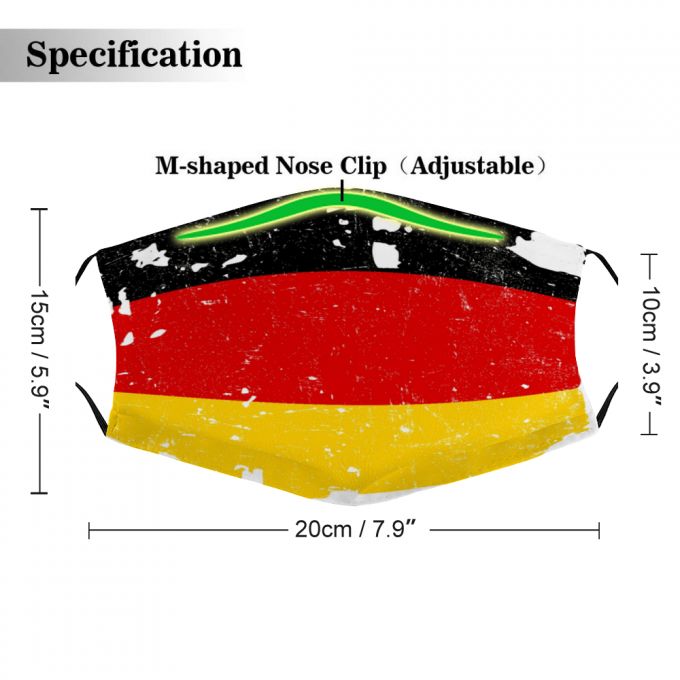 Germany Flag Face Mask + Filters PM2.5