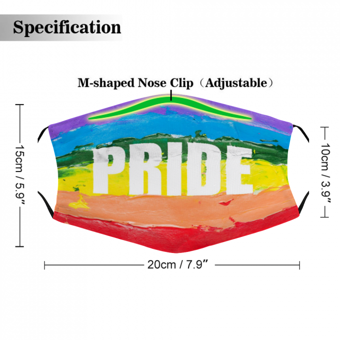 LGBTQ + Pride Face Mask + Filters PM2.5