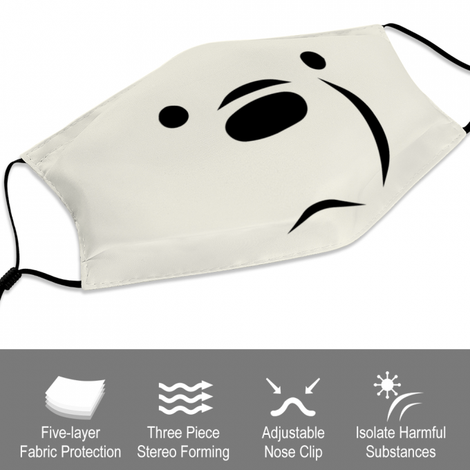 Ice Bear We Bare Bear Face Mask + Filters PM2.5