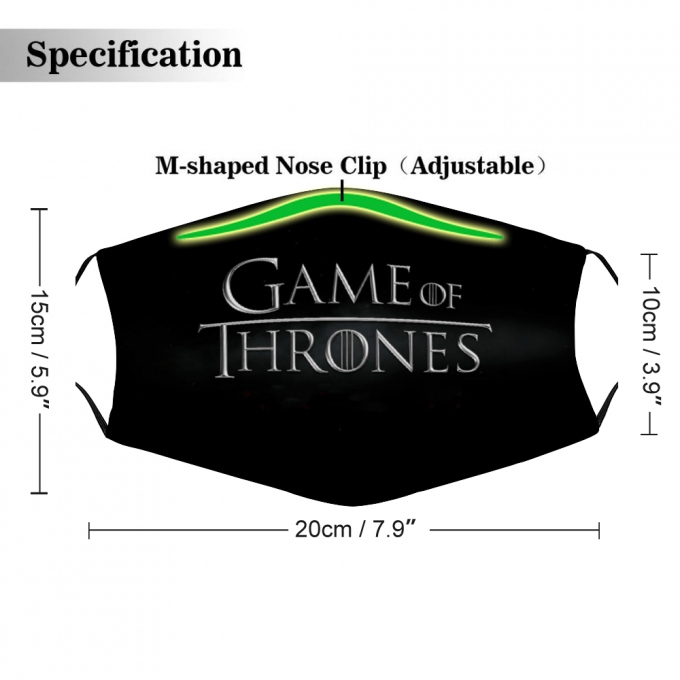 Game of Thrones Logo Face Mask + Filters PM2.5