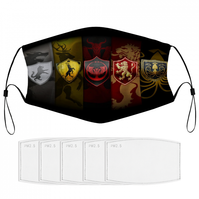 Game of Thrones Houses Face Mask + Filters PM2.5