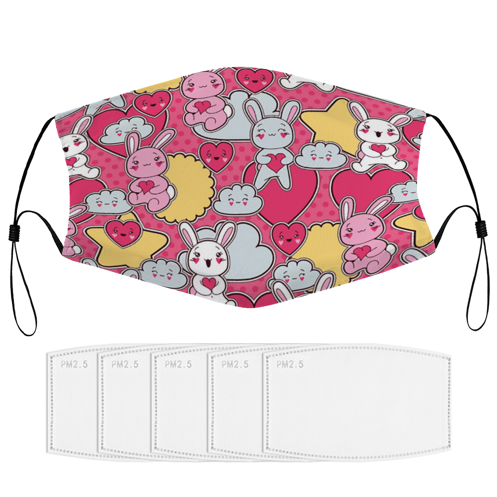 Cute Bunnies Face Mask + Filters PM2.5