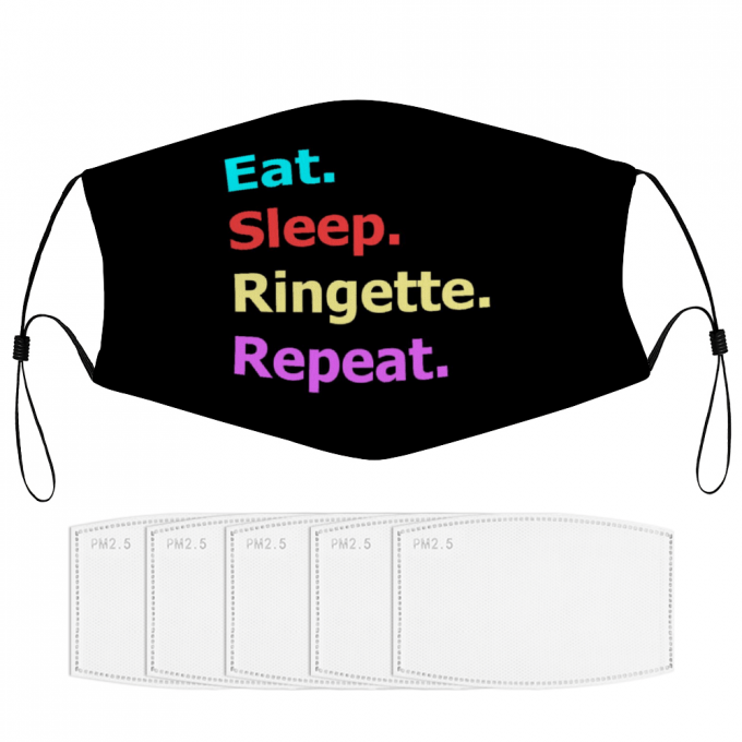 Eat Sleep Ringette Repeat Face Mask + Filters PM2.5