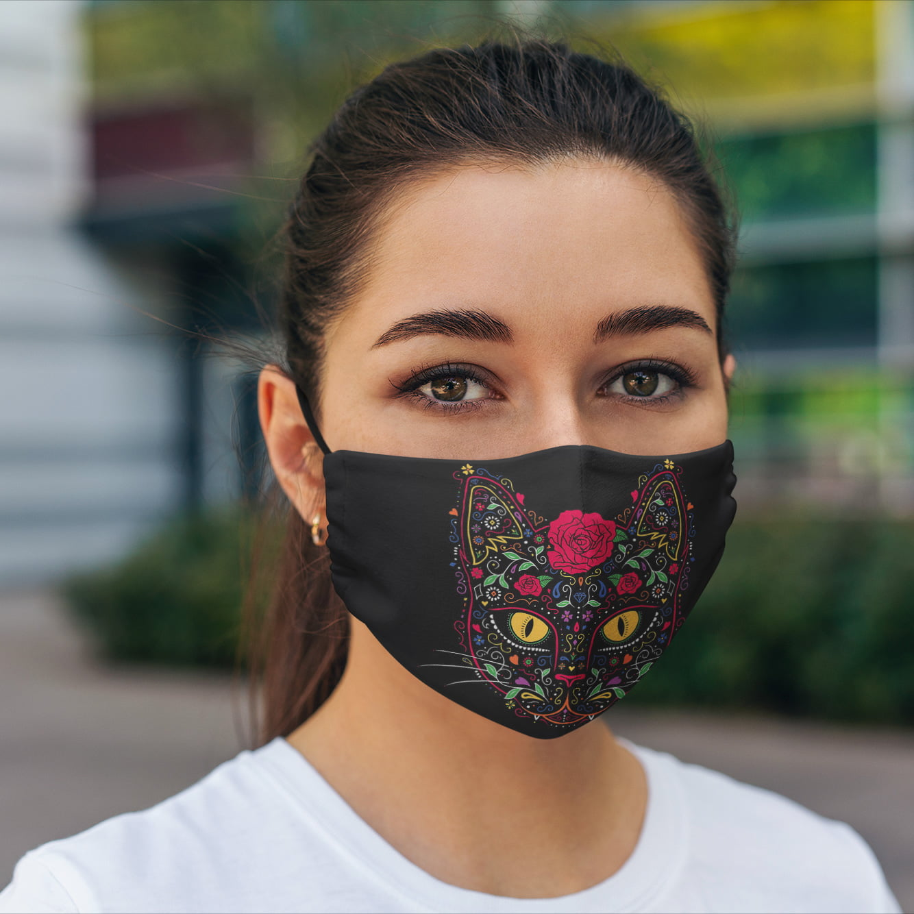 Day of The Dead Cat Face Mask + Filters PM2.5