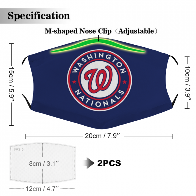 Washington Nationals Face Mask + Filters PM2.5