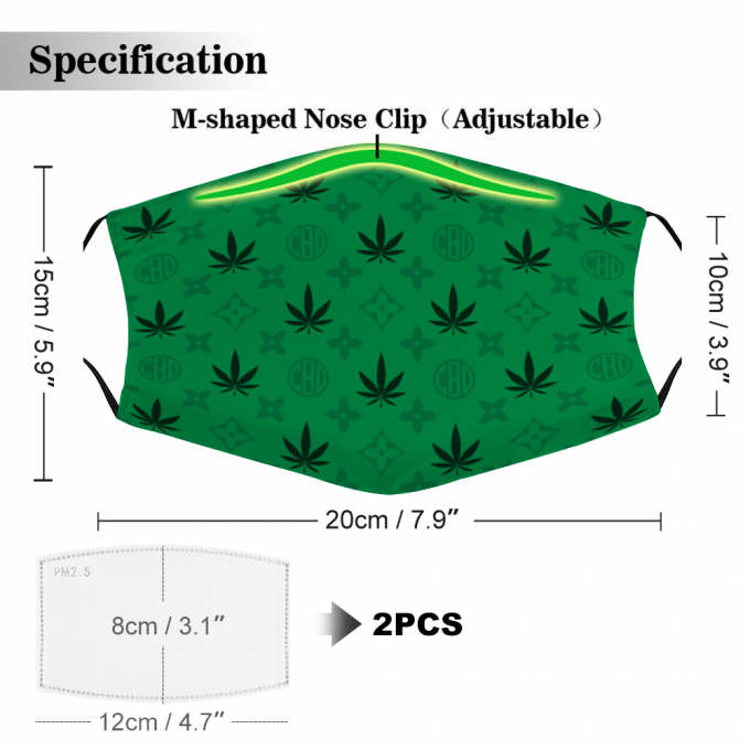CBD Cannabis Face Mask + Filters PM2.5