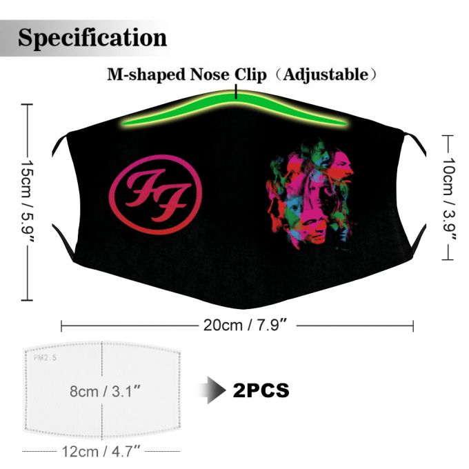 Foo Fighters Logo Face Mask + Filters PM2.5
